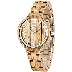 Wooden Watches Made of Real Olive Wood a Natural Woodworking Watch for Ladies with Adjustable Minium Strap