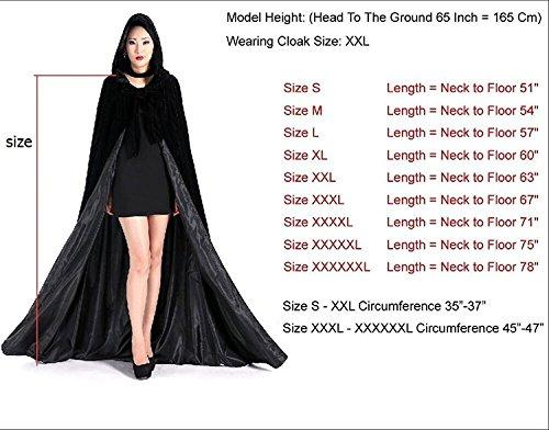 Dressvip Halloween Party Cape Longue avec Capuche en Velours Noir Cosplay Costume Déguisement pour Soirée Noir-bleu