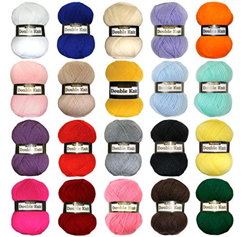 Marriner Yarns Double Knit Bumper Pack | 20 x 100g Balls of Double Knitting  Yarn (6000m Approx) | 100% Acrylic