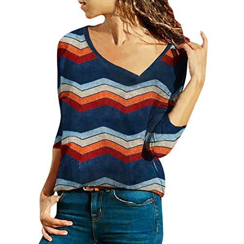MEIbax Damen Mode Gestreifte Top Pfirsichblüte Kragen Langarm Korean Samt Bluse Elegant Shirt ()