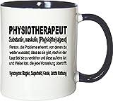 Mister Merchandise Kaffeebecher Tasse Physiotherapeut Definition Geschenk Gag Job Beruf Arbeit Witzig Spruch Teetasse Becher Weiß-Blau