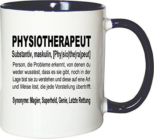 Mister Merchandise Kaffeebecher Tasse Physiotherapeut Definition Geschenk Gag Job Beruf Arbeit Witzig Spruch Teetasse Becher Weiß-Blau (Weiß Mugs Blau)