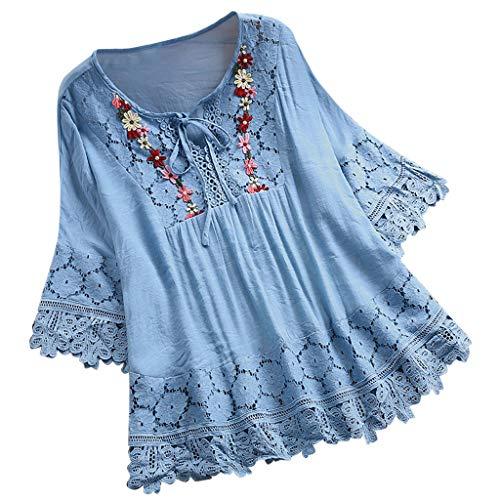 Lazzboy Frauen Weinlese Spitze Patchwork Bogen V-Ausschnitt DREI Viertel Blusen Top T-Shirt Damen Vintage Bohemian Sommerkleid Tunikakleid Bluse Oberteile Shirt Crop Tops(Himmelblau,2XL)