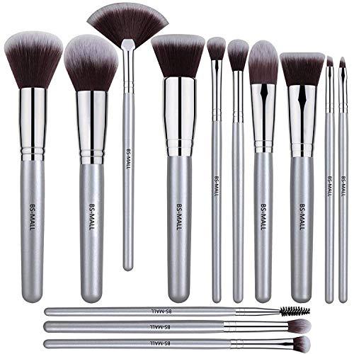 BS-MALL 12 PCS Makeup Brush Set Premium Synthetic Silver Foundation Blending Blush Face Powder Brush Makeup Brush Kit