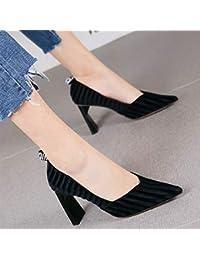 HRCxue Zapatos de la Corte Moda Carta Puntiaguda Gruesa con Tacones Altos  Mujer Temperamento Terciopelo Boca f16457b7ec96