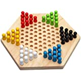 SODIAL(R)Hexagon traditionnelle en bois chinois famille Checkers Game Set