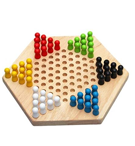 Dames Chinoises - SODIAL(R)Hexagon traditionnelle en bois chinois famille Checkers