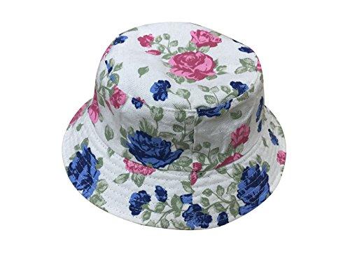 ACVIP Damen Herren Fischerhut Sommerhut Sonnenhut Beidseitiger Hut mit Verschiedenen Muster (Rosa und Blau Rose) -
