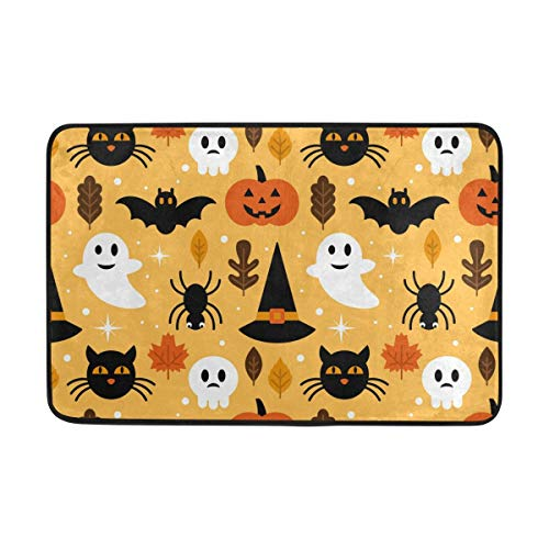 XueShe JSTEL Halloween Ghost Skull Pumpkin Cat Doormat Indoor/Outdoor Washable Garden Office Door Mat,Kitchen Dining Living Hallway Bathroom Pet Entry Rugs with Non Slip Backing