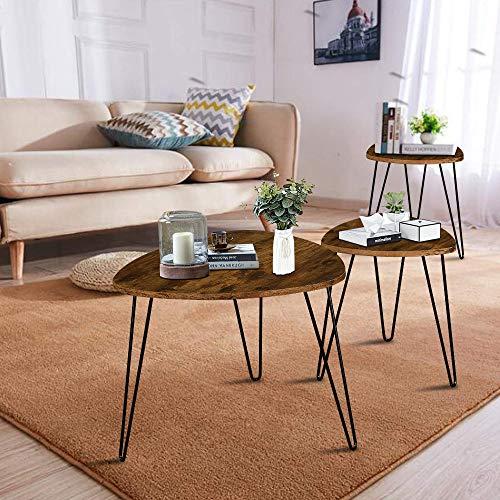 LENTIA Satztische Beistelltisch 3er Set Couchtisch modisch Kaffeetische Nachttisch aus Holzfaserplatte MDF für Wohnzimmer Schlafzimmer Vintage