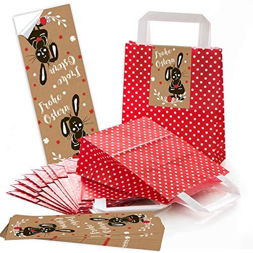 eine ROTE Verpackung Henkeltüte Punkte Papiertüte mit Griff 18 x 8 x 22 cm + Osternest Osteretiketten 7,2 x 21 cm Text Frohe Ostern Geschenk Aufkleber braun weiß schwarz ()