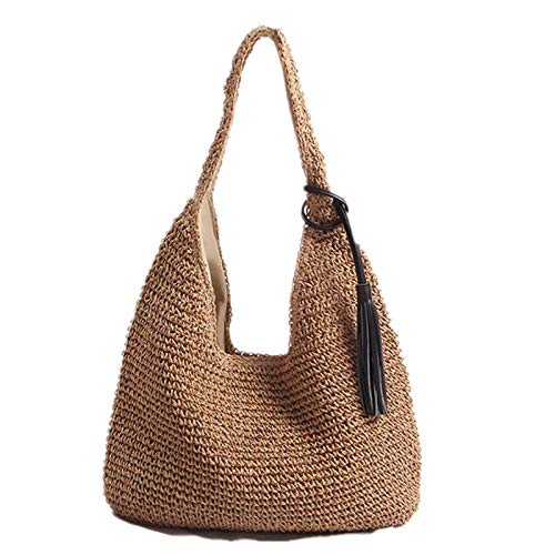 Strandtasche,Outdoor-Strand-Strohsack Large Capacity Tassel Big Handle Bills Shoulder Straw Bag Beach Bag Ladies Big Bill Strap