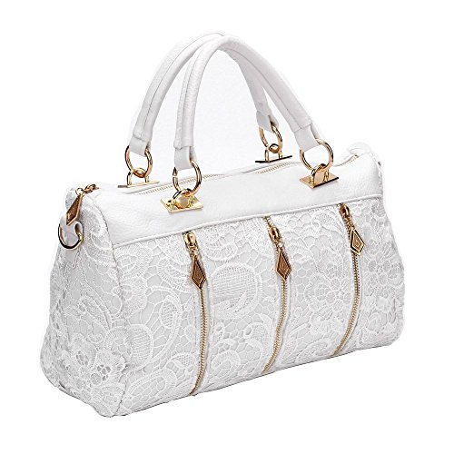 Fashion dentelle Sacs à main rétro sacs bandoulière blanc