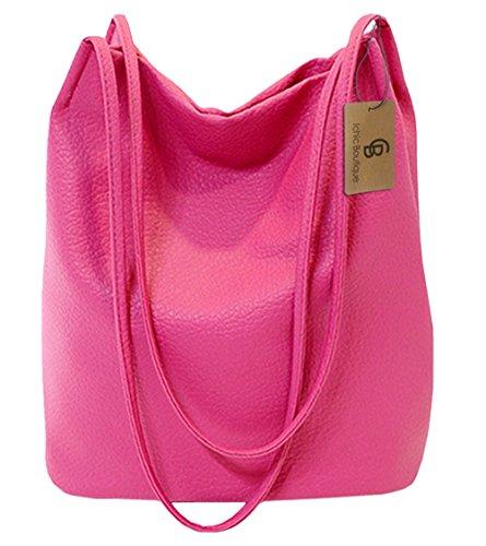 36c8f860085cc Eimer Tasche Damen Handtasche Leder Schultertasche Umhängetaschen Beutel  Rosa