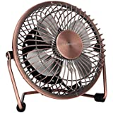 GLAMOURIC Portable USB Powered Desk Mini Fan Vintage Metal Cooler Fan Cooling Mute Quiet - Small Table Fan with Switch on/off, Great for Desktop Tabletop Office & Travel