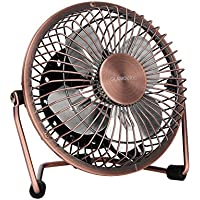 Portable USB Powered Desk Mini Fan - Glamouric Vintage Metal Cooler Fan Cooling Mute Quiet - Small Table Fan with Switch on/off, Great for Desktop Tabletop Office & Travel, Retro Designed Copper Colour
