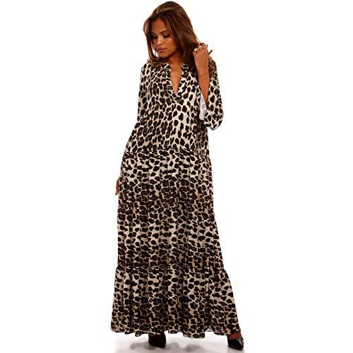 YC Fashion & Style Damen Boho Maxikleid Strandkleid Freizeit Sommer Party Kleid Hippie Kleid Plus Size Made in Italy (One Size, Braun/Leopardenmuster)