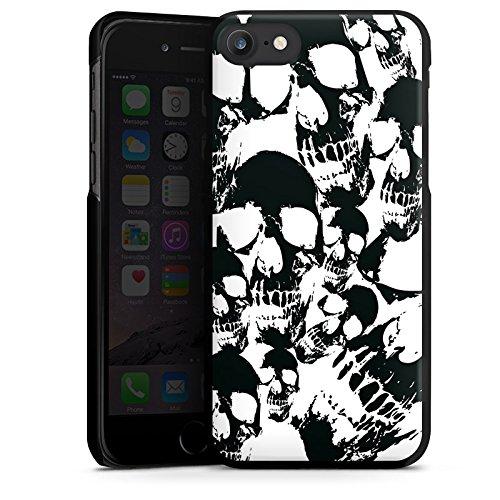 Apple iPhone X Silikon Hülle Case Schutzhülle Skull Schwarz-Weiß Gothic Hard Case schwarz