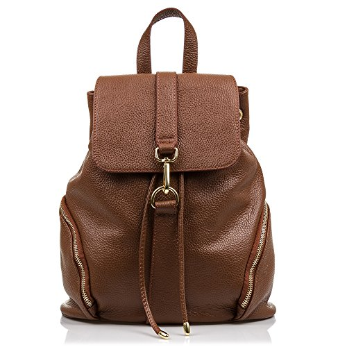 FIRENZE ARTEGIANI. Zaino da donna casual in vera pelle. Zaino in vera pelle Dollaro. Tasche laterali. Borsa da donna. Made in Italy. Vera Pelle Italiana. 30 x 35 x 16 cm. Colore Brown