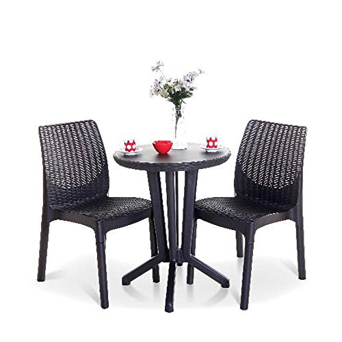 Keter Compact Lightweight Mocha Brown Synthetic Moulded Rattan Style 2 Seat Bistro Set