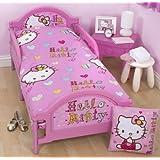 NEW DISNEY BABY JUNIOR TODDLER COT BED SET DUVET QUILT COVER PILLOWCASE BEDDING (HELLO KITTY)