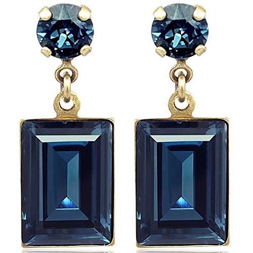 Ohrringe mit Kristalle von Swarovski® Gold Blau NOBEL SCHMUCK