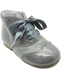 Mercedita Babaty 7069AA - Zapato en ante y charol con dibujo brocado para niña, color azul marino.