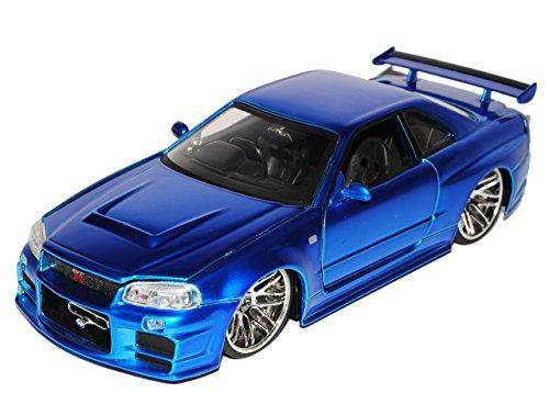 Jada Nissan Skyline GT-R R34 Blau Brian´s Paul Walker The Fast and The Furious 1/24 Modell Auto mit individiuellem Wunschkennzeichen