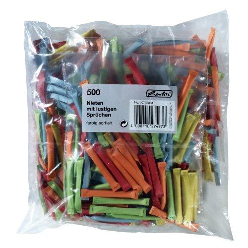 Preisvergleich Produktbild Herlitz 10733384 Nieten 500 Stück farbig sortiert, bedruckt mit lustigen Sprüchen