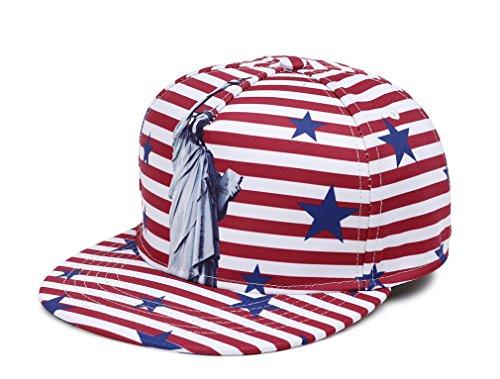 Dilize-NUZADA Unisex Striped Snapback Hat Everyday Baseball Cap with Liberty Statue