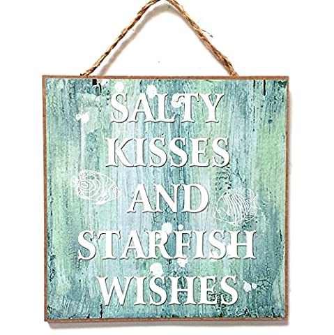 Nautical, Seaside, Marine Themed Hanging Wall Plaque, Sign 20cm x 20cm (SALTY KISSES AND STARFISH WISHES)