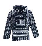 Kunst und Magie Nepal Baja Jerga Sweatshirt Poncho mit Fleecefutter Kapuze, Größe:XL, Farbe:Schwarz/Weiß