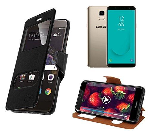 New & Teca–Carcasa Samsung Galaxy J62018Funda–Funda con 2Fênetres Piel sintética con Tapa magnética