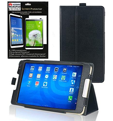 Navitech Schwarzes Bicast Leder Stand Case / Cover mit Halteschlaufe und Anti-blend Bildschirm / Display Schutz für das Huawei Medipad M1 8.0 -