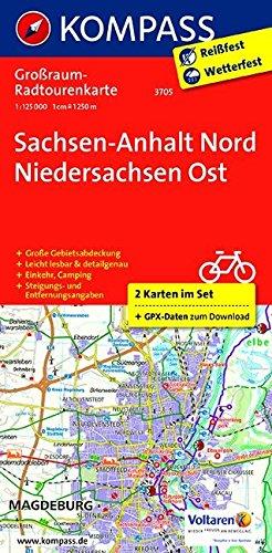 Sachsen-Anhalt Nord - Niedersachsen Ost: Großraum-Radtourenkarte 1:125000, GPX-Daten zum Download: 2-delige fietskaart 1:125 000 (KOMPASS-Großraum-Radtourenkarte, Band 3705)