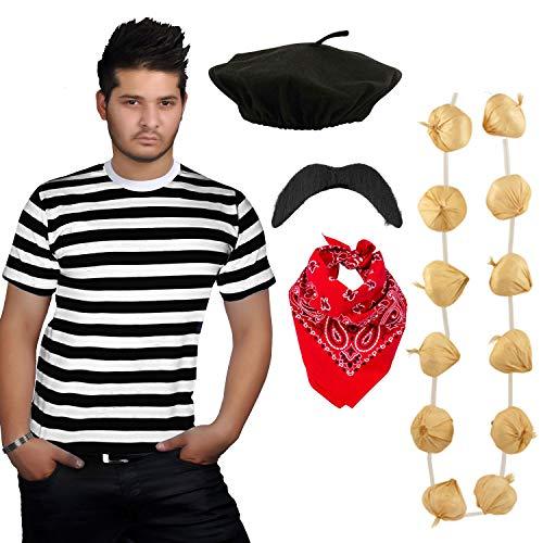 Angies Fashion® Herren Kostüm Französisch Mann gestreift T-Shirt, Baskenmütze, rotes Paisley-Schal, Knoblauchgirlande und Schnurrbart Kostüm-Set Gr. 95, Schwarz