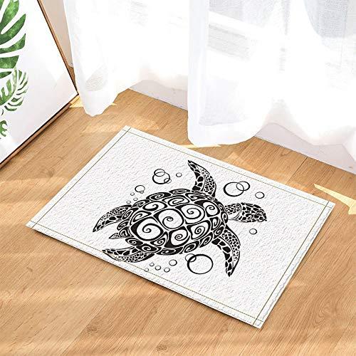gohebe Creative Schildkröte Malerei in schwarz und weiß Bad Teppiche für Badezimmer Rutschfeste Boden Eingänge Outdoor Innen vorne Fußmatte Kinder Badteppich 39,9x59,9cm