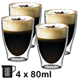 SPARES2GO 80ml Double Walled Thermal Coffee Glass Tumbler Espresso Shot Cup Glasses