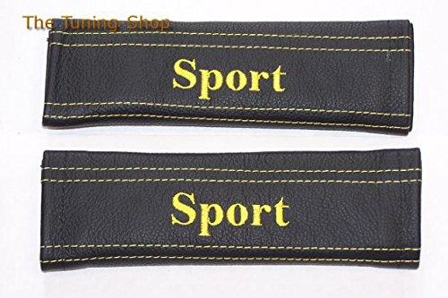 Neues Logo Gürtel (2x neue Sicherheitsgurt für Pads Schulter Leder gelb Stickerei Sport NEU)