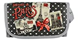 French Vintage Cosmetic Pouch With Mirror Souvenir De Paris