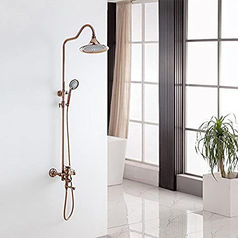 NHD-Wall mounted shower set, copper rose gold European-style shower, shower, antique shower