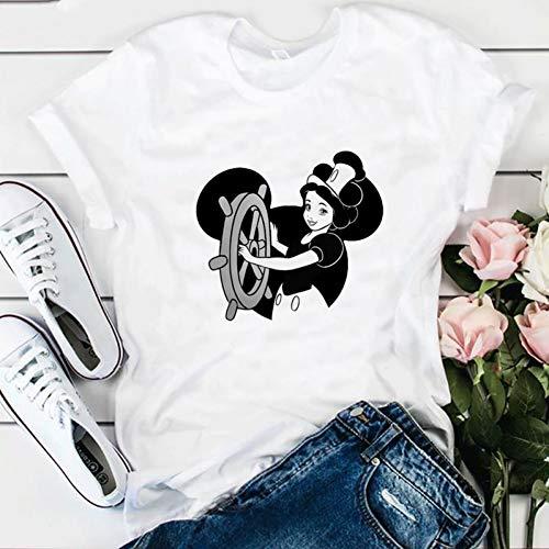 WDFSER Die Prinzessin Snow White Print Frauen Harajuku T-Shirt Plus Größe Kawaii T Shirt Ästhetischen Koreanische Gothic Streetwear Tops 90 s (White Snow Gothic)