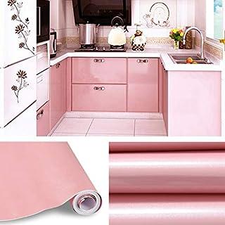 KINLO Aufkleber Küchenschränke rosa 2 Stk. 61x500cm aus hochwertigem PVC Küchenfolie Klebefolie Tapeten Küche selbstklebende Folie Küche wasserfest aufkleber für Schrank Möbelfolie Dekofolie