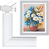 RAABEC Bilderrahmen, für Bilder der Größe 40x50cm, Farbe Weiß matt, Modell John, ideal für Malen nach Zahlen Bilder z.B. von Schipper oder Ravensburger, Neu! (ohne Glas)
