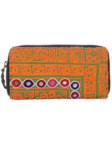 Borsa in cotone Rajrang antico Pochette vintage ricamati a mano per le donne Orange & Green 01