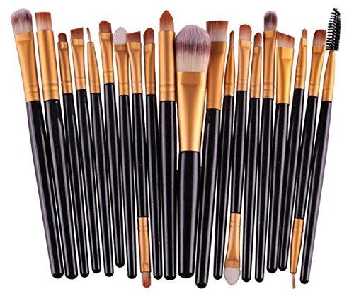 Glamza 20PC Noir œil visage Fond de teint sourcils lèvres Mixer Lot de brosse de maquillage