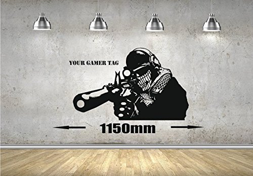 Call of Duty estilo Sniper Wall Art Gamer Militar MW3 Mural de PS3 XBOX, vinilo, negro, 1100mm x 720mm