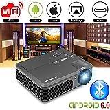 Proiettore WiFi Bluetooth Wireless 4200 Lumens (aggiornato 2017), Portable HD LED Cinema digitale Home Theater Proiettore per esterni Indoor Supporto 1080p con porta USB Audio AV HDMI TV