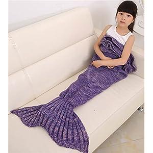 Hengsong Gestrickte Meerjungfrau Schwanz Decke warme weiche Schlafsack Geburtstag Weihnachtsgeschenk für Kinder 55.12*27.56inch (Lila)