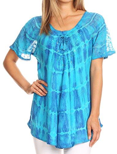 Sakkas 17786 - Isayan Multi Farbe verschönert Tie Dye Sheer Cap Ärmel Tunika Top - 3-Turq - OSP (Dye Cap Tie Baumwolle)